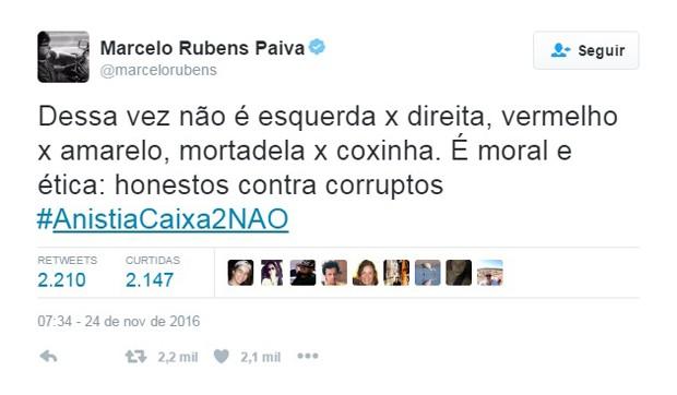 Tuíte do escritor Marcelo Rubens Paiva sobre proposta de anistia de caixa 2 (Foto: Reprodução/Twitter/@marcelorubens)