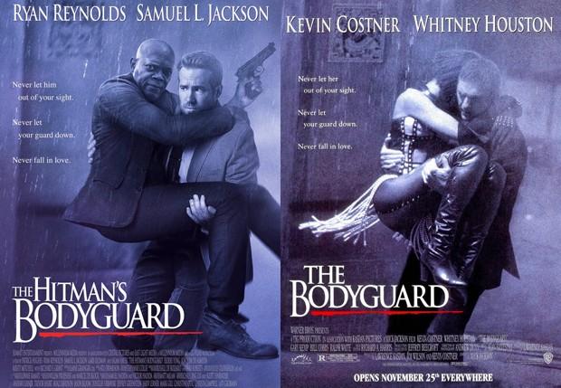 Ryan Reynolds e Samuel L. Jackson em pôster de 'The Hitman's Bodyguard', paródia de 'O Guarda-Costas' (1992 (Foto: Reprodução)