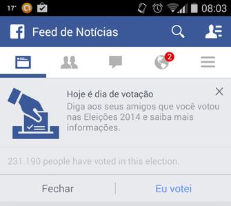 Facebook estimula eleitores no Brasil (Foto: Reprodução/Facebook)