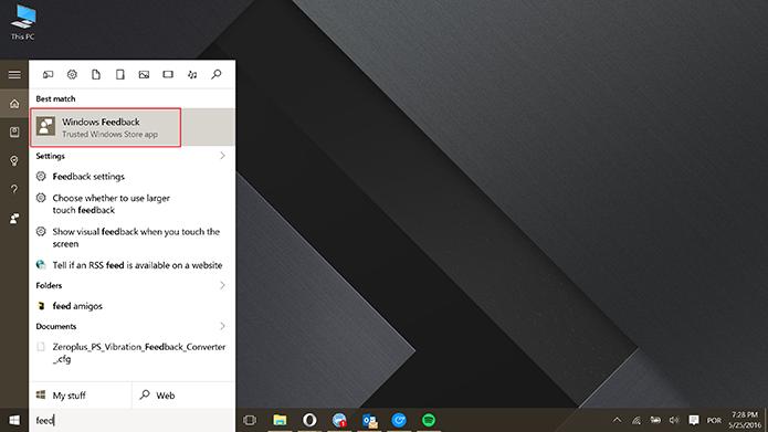 Windows Feedback pode ser usado para reclamações no Windows 10 (Foto: Reprodução/Elson de Souza)