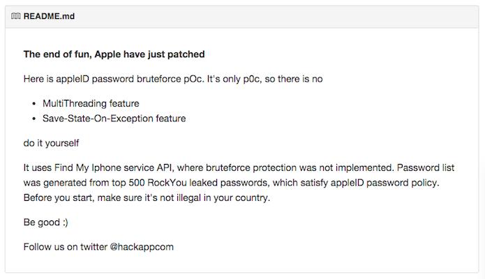 Nota na página de download do script ibrute que informa que a Apple resolveu a vulnerabilidade do Find my iPhone (Foto: Reprodução/Github)