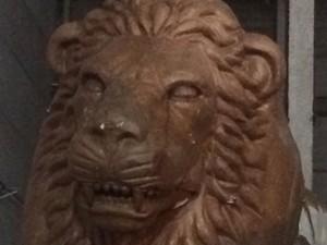 Uma das muitas representações do Leão, o símbolo da Estácio de Sá (Foto: Alba Valéria Mendonça/ G1)
