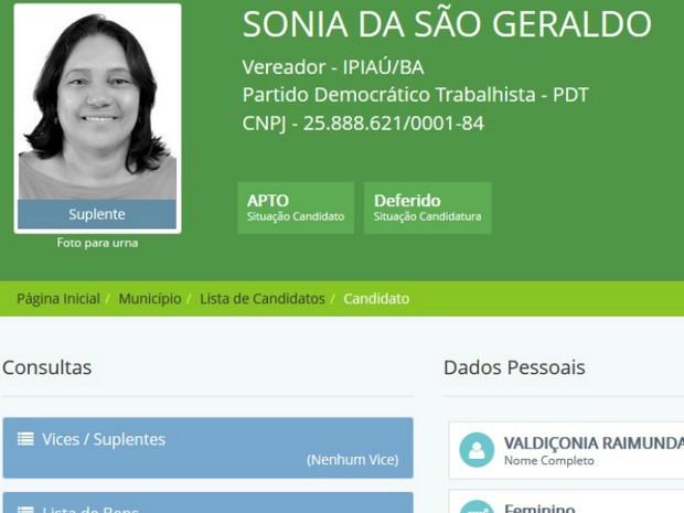 Candidata a vereadora em Ipiaú divulgou número errado durante campanha (Foto: Reprodução/DivulgaCand)
