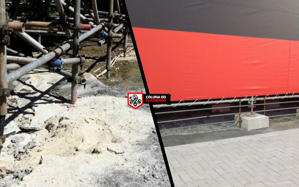 Trecho de obra provisória do Botafogo; à direita, do Flamengo (Foto: Coluna do Flamengo)