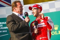 Arnold Schwarzenegger, Vettel, GP da Austrália de F1 (Foto: EFE)