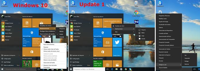 Windows 10 Update 1 trouxe mudanças à interface do sistema (Foto: Reprodução/Elson de Souza)