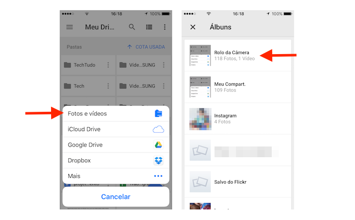 Pasta do iPhone onde estão as fotos que serão levadas para o Google Drive (Foto: Reprodução/Marvin Costa)