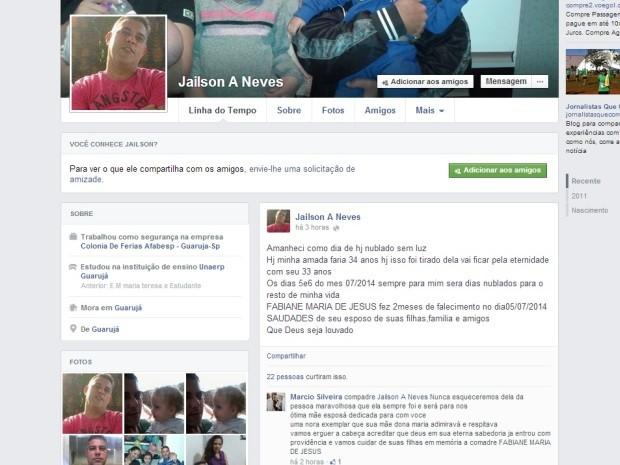 Jaílson postou mensagem em uma rede social (Foto: Reprodução / Facebook)
