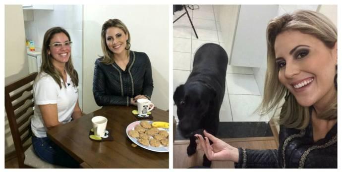 Jessica Leão e a dog walker  (Foto: Reprodução / TV Diário)