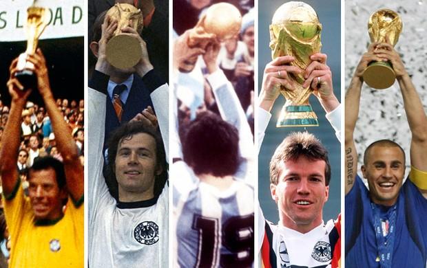 Ex-jogadores Taça Carlos Alberto Torres, Beckenbauer, Passarella, Matthaus e Cannavaro (Foto: Arte / Globoesporte)