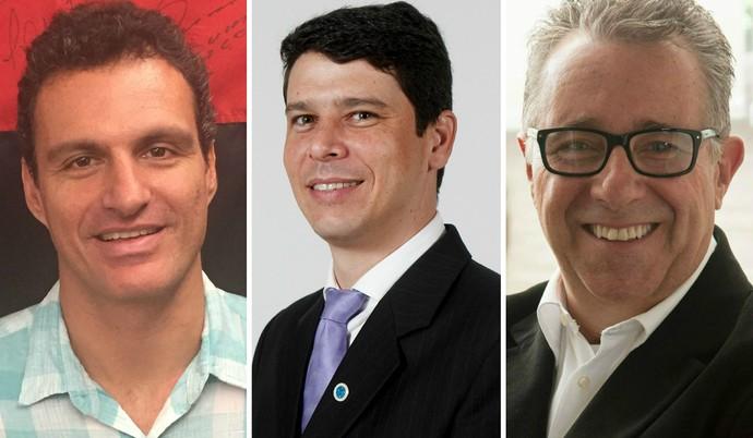 Bruno Spindel (Flamengo), Marcone Barbosa (Cruzeiro) e Jorge Avancini (Bahia/Internacional) são presenças confirmadas no evento Gesport (Foto: Editoria de arte)