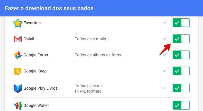 Acesse o Google Takeout e selecione os produtos que deseja fazer backup (Foto: Reprodução/Helito Bijora)