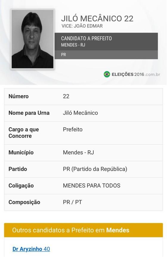 Jiló Mecânico, candidato a prefeito em Mendes (RJ) (Foto: Reprodução)