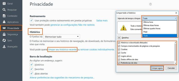 Apague os dados de navegação do Firefox (Foto: Reprodução/Barbara Mannara)