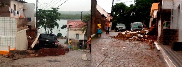 Parte do muro cedeu e caiu sobre um carro que estava estacionado na rua Passo da Pátria; ninguém se machucou (Foto: Diego Hervani/G1)