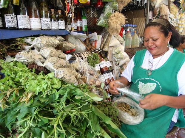 No Pará, plantas e ervas são usadas em receitas populares e vendidas no Ver-o-peso (Foto: Igor Mota / Amazônia Jornal)