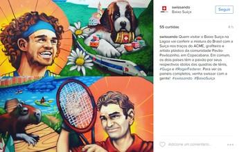 Fora da Olimpíada, Federer estampa desenho com Guga na Casa da Suíça
