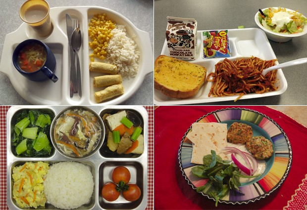 No blog, crianças de todo o mundo trocam informações sobre o que comem na escola; em sentido horário, merendas da Escócia, dos Estados Unidos, de Israel e de Taiwan (Foto: Reprodução/Never Seconds)