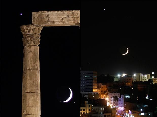 Outras imagens mostram a convergência da lua e Vênus na Jordânia (Foto: Muhammad Hamed/Reuters)