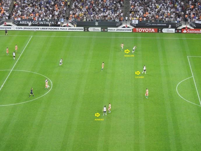Ataque reforçado: Romero (pela direita) e Marlone (esquerda) faziam companhia constante a Luciano na frente do Corinthians (Foto: GloboEsporte.com)