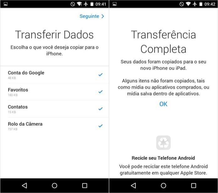 Selecione os dados que você quer transferir (Foto: Reprodução/Helito Bijora)