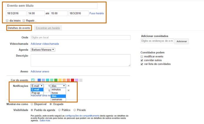 Personalize dados do evento e crie alertas no Gmail (Foto: Reprodução/Barbara Mannara)