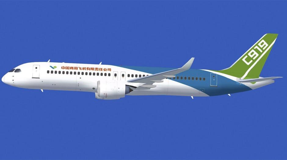 Batizado como C919, o avião tem capacidade para transportar entre 158 e 168 passageiros e começou a ser desenvolvido em 2008 (Foto: Divulgação)