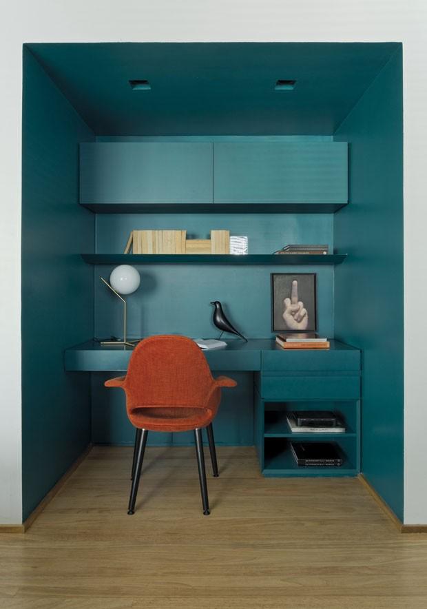 Décor do dia: home office em forma de caixa (Foto: reprodução)