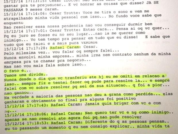 Troca de mensagens pelo Whatsapp entre a vítima e Rafael Caram (Foto: Arquivo Pessoal / César Trotte)