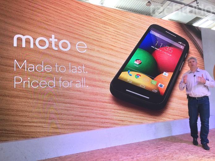 Motorola lança Moto E em evento realizado em São Paulo (Foto: Allan Melo/ TechTudo)