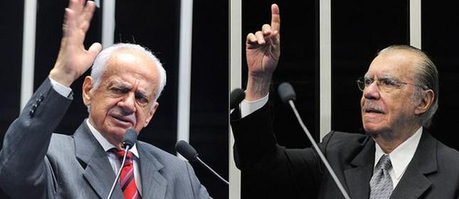 Hora do adeus: senadores Pedro Simon e José Sarney  (Foto: Geraldo Magela / Ag. Senado)