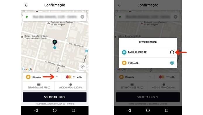 Troca de perfil pessoal para perfil familiar no Uber (Foto: Reprodução/Raquel Freire)