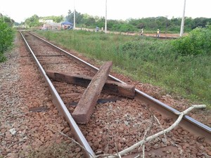 Manifestantes utilizaram pedaços de troncos e pedras para bloquear ferrovia (Foto: Douglas Pinto/TV Mirante)
