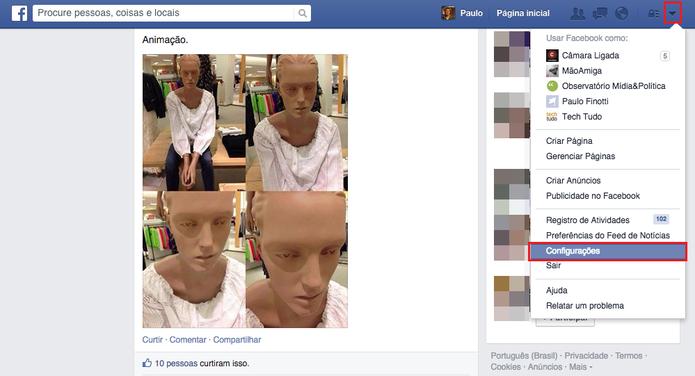 Acesse as configurações de sua conta a partir da página inicial do Facebook (Foto: Reprodução/Paulo Finotti)