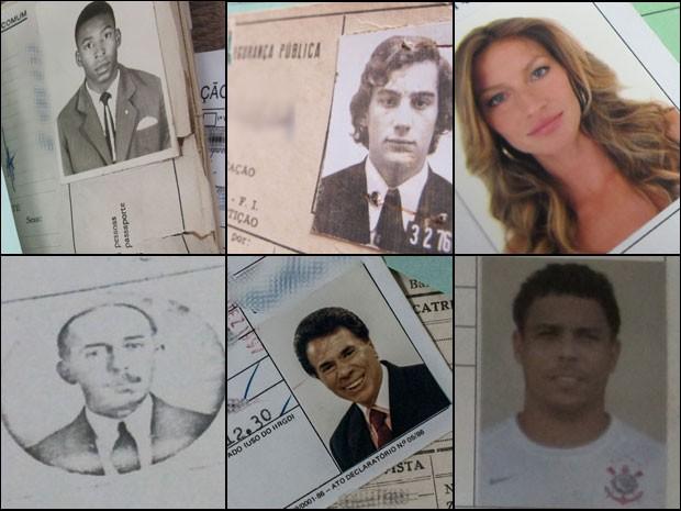 Pelé, Ayrton Senna, Gisele Bündchen, Santos Dumont, Silvio Santos e Ronaldo: Polícia Civil de São Paulo guarda RGs de famosos em cofre secreto (Foto: Montagem: Fotos de Victor Moriyama e Kleber Tomaz)