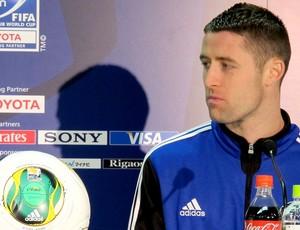 Cahill na coletiva do Chelsea (Foto: Cahê Mota / Globoesporte.com)