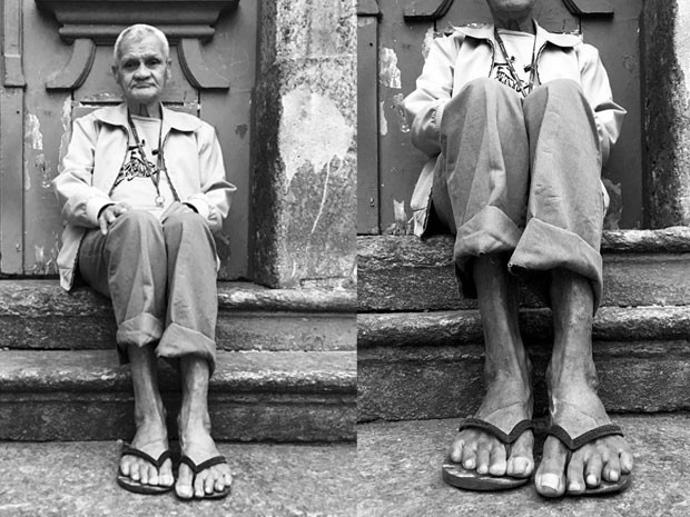 Jovem da Providência fotografa antigos moradores da favela  (Foto: Projeto Favela Grafia/ Joyce Marques)