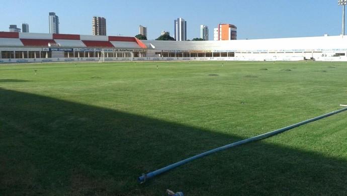 Estádio Nogueirão, em Mossoró - corte no gramado - irrigação (Foto: Daniel Machado)