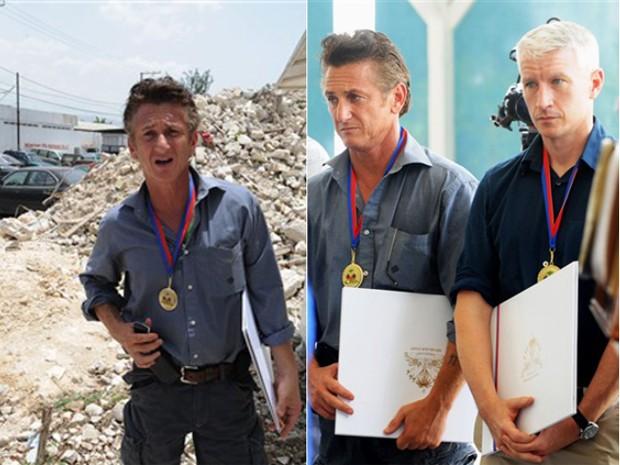O ator Sean Penn visitou em junto de 2010 Porto Príncipe, no Haiti, onde recebeu medalha por honra ao mérito, dada por autoridades locais. Ao seu lado, também foi condecorado o jornalista da rede CNN Anderson Cooper. (Foto: AFP) (Foto: AFP)