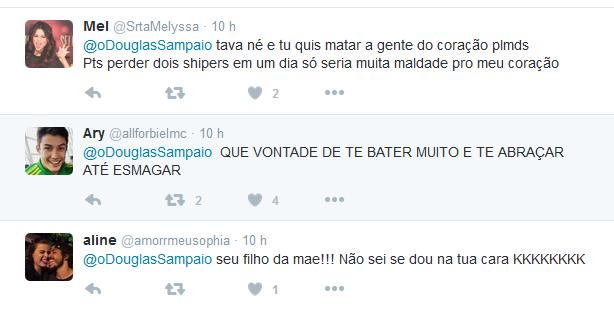 Fãs comentam 'pegadinha' de Douglas Sampaio (Foto: Reprodução/Twitter)