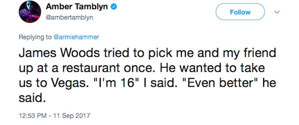 A declaração da atriz Amber Tamblyn sobre o assédio do ator James Woods (Foto: Twitter)