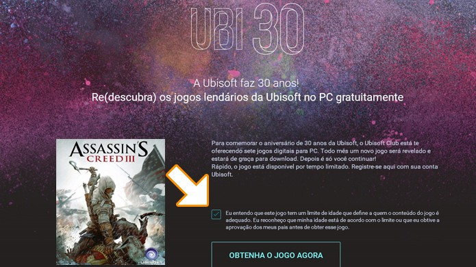 Clque na caixa para afirmar que está ciente da classificação indicativa de Assassin's Creed 3 (Foto: Reprodução/Rafael Monteiro)