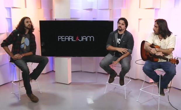Da esquerda: Sérgio Vedder, Eddu Vedder e Daniel Camargo, covers do líder do Pearl Jam (Foto: G1)