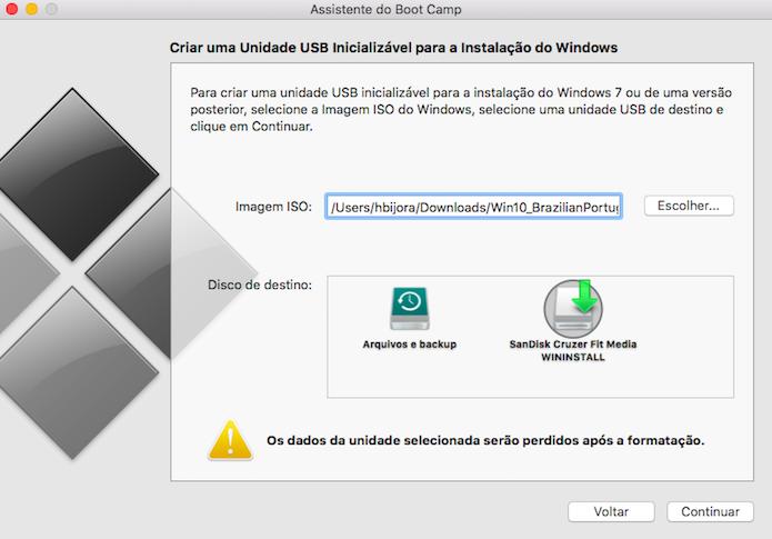 Selecione o arquivo ISO do Windows 10 e o pen drive a ser usado (Foto: Reprodução/Helito Bijora)