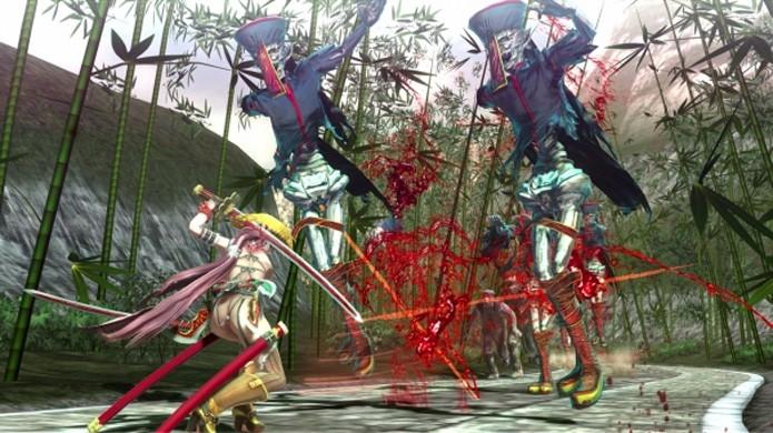 Apesar de ter alguma variedade o combate de Onechanbara Z2: Chaos fica repetitivo rapidamente (Foto: Reprodução/Gematsu)