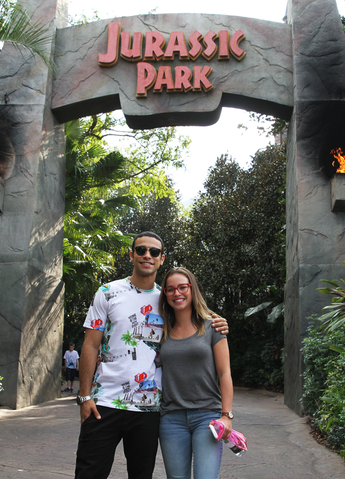 Entrada do Jurrasic Park no Universal Orlando Resort (Foto: Letícia Souza/Gshow)