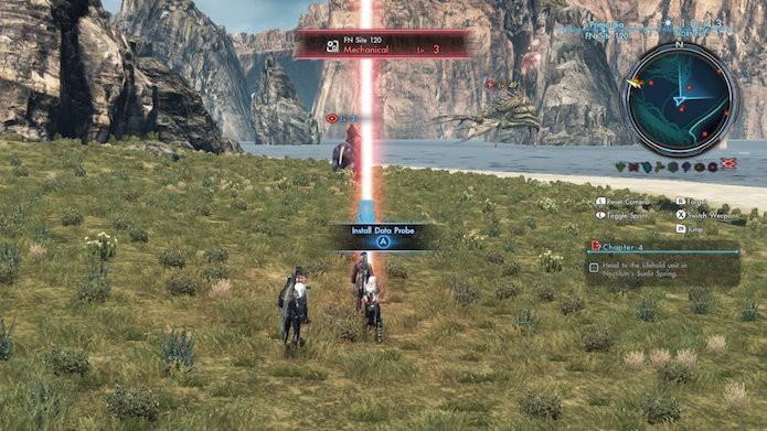 Xenoblade Chronicles X: depois de descobrir a área, instale uma sonda de coleta de dados (Foto: Reprodução/Victor Teixeira)