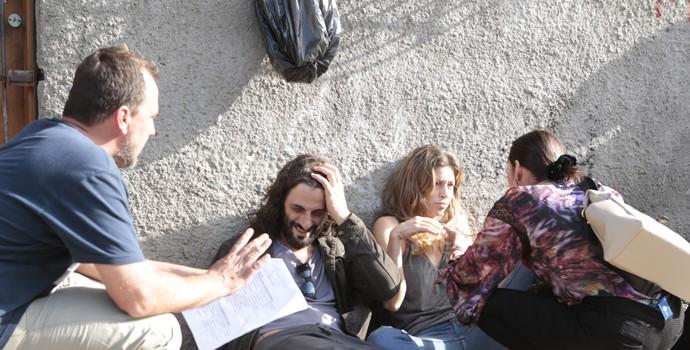 Diretor André Felipe Binder ensaia com Flávio Tolezani e Grazi Massafera (Foto: Felipe Monteiro/Gshow)