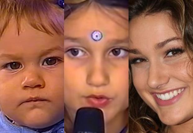 Sasha Meneghel aos 11 meses, aos 6 anos e aos 16 anos (Foto: Reprodução/TV Globo, Reprodução/TV Globo e Felipe Assumpção/AgNews)