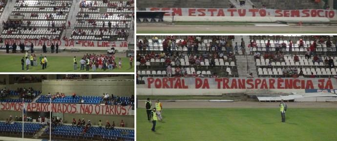 Protestos torcida do CRB (Foto: Denison Roma/Globoesporte.com)